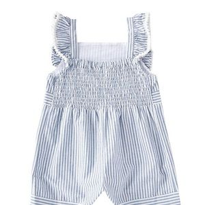 Rare Editions Dresses - Rare Editions: Ruffle/Bow Striped Romper